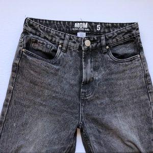 Urban Planet Black Acid-wash High-rise Mom Jeans